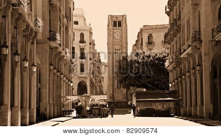 Downtown Beirut in Sepia