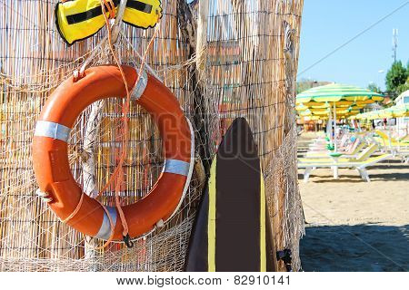 Safety Equipment On The Beach. Lifebuoy And Belt