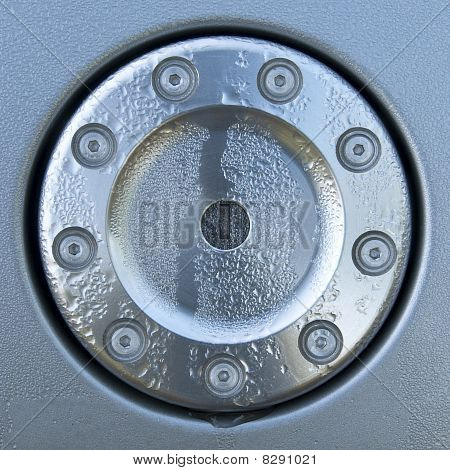 Design fuel cap with droplets - metal lock and bolts