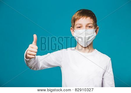 Boy Showing Thumb Up In Protection Mask