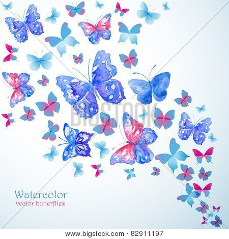 Blue watercolor butterflies. Summer banner.