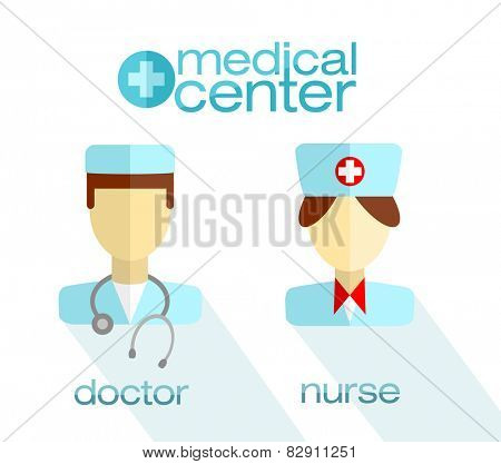 Modern flat icons of medical nurse, doctor and medical center label with shadow.