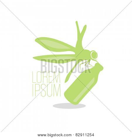 Dragonfly with flask ecology logo template.