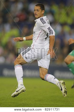 BARCELONA - OCT, 29: Javier Chicharito Hernandez of Real Madrid during the Spanish Kings Cup match against UE Cornella at the Estadi Cornella on October 29, 2014 in Barcelona, Spain