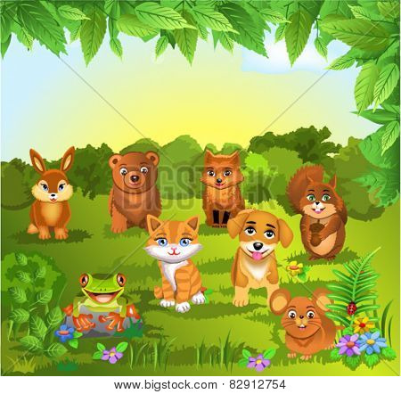 set of animals on a natural background