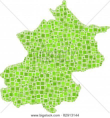 Isolated map of Pechino - China -