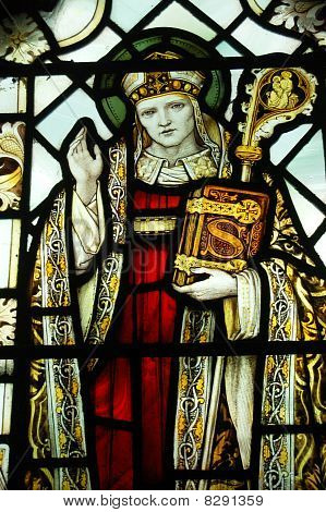 Saint Swithun stained glass window