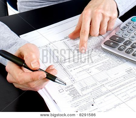 Woman Working With Documents