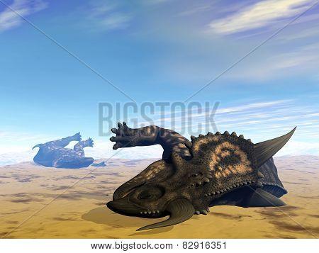 Einiosaurus dinosaurs dead- 3D render