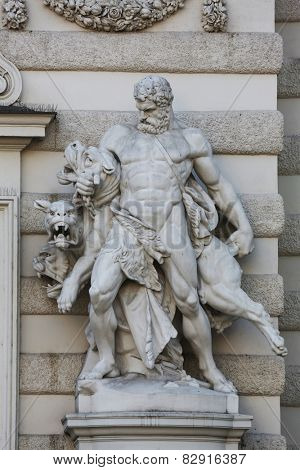 VIENNA, AUSTRIA - OCTOBER 10: Hercules and Cerberus, Hofburg in Vienna, Austria on October 10, 2014.
