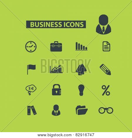 business, bank, investment icons, signs, illustrations set, vector