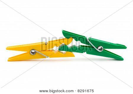 Photo Of Colour Clothespins Isolated