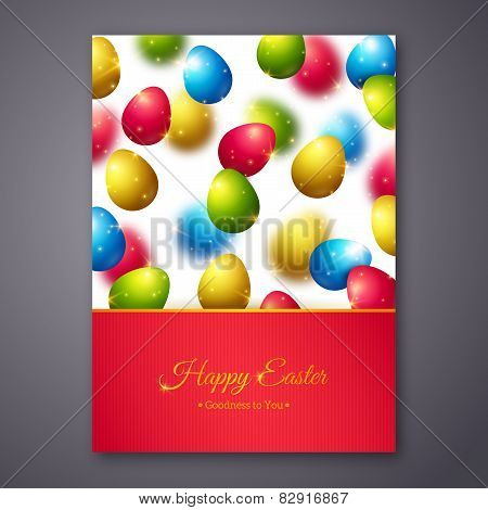 Happy Easter Greeting Card Design with Colorful Eggs.