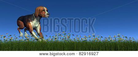 Hound dog running - 3D render