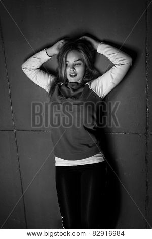 Monochrome Portrait Of Sexy Blonde Woman In Sporty Hoodie