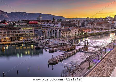Seujet dam on Rhone river, Geneva, Switzerland, HDR