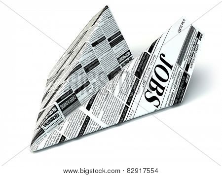 Job seeking concept. Newspaper as paper airplane. 3d