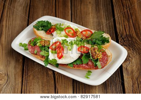 Poached Egg Sandwiches With Chili, Scallion And Salami
