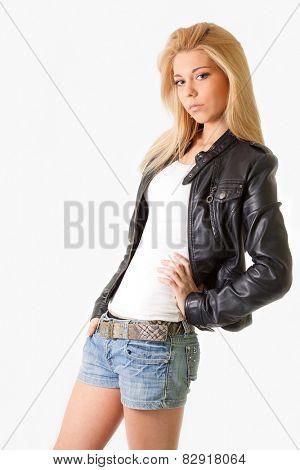 attractive blonde girl. studio shot