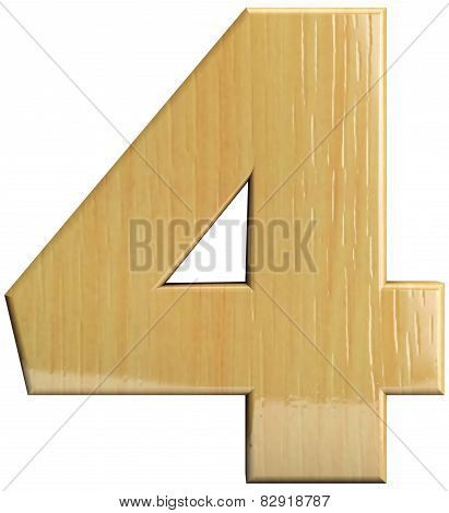 Wooden Number 4 - Four