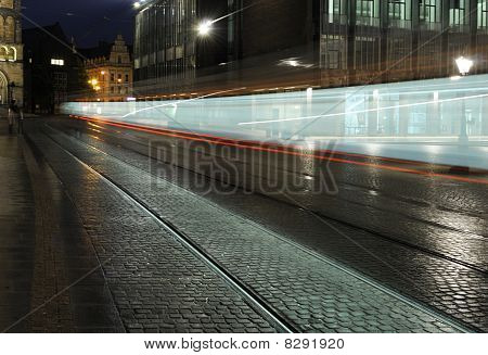 Speeding Night Tram