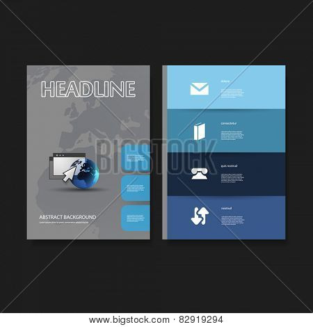 Flyer or Cover Design Template Set - Business, Network, Corporate Identity
