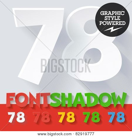 Modern funny flat alphabet with long ambient shadow. Optional colors. Numbers 7 8
