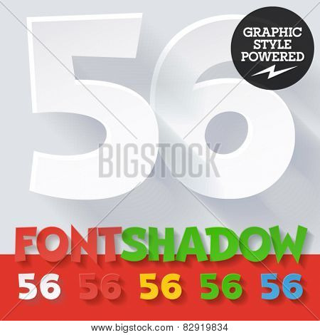 Modern funny flat alphabet with long ambient shadow. Optional colors. Numbers 5 6