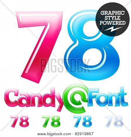 Children's candy font. Set of vector symbols. Numbers 7 8