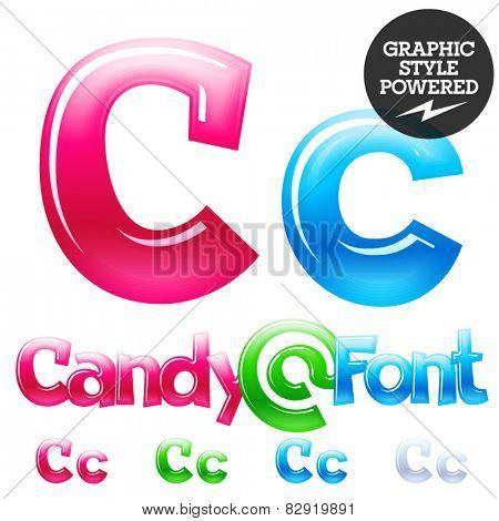 Children's candy font. Set of vector symbols. Letter C