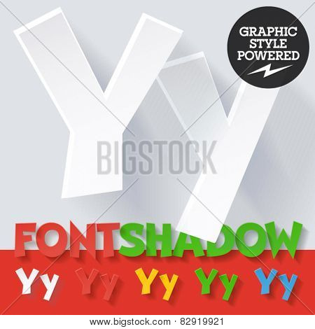 Modern funny flat alphabet with long ambient shadow. Optional colors. Letter Y