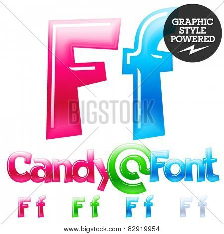 Children's candy font. Set of vector symbols. Letter F
