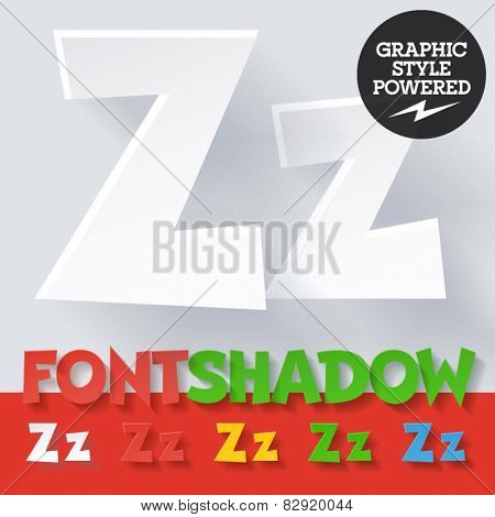 Modern funny flat alphabet with long ambient shadow. Optional colors. Letter Z