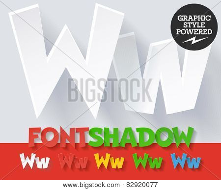 Modern funny flat alphabet with long ambient shadow. Optional colors. Letter W