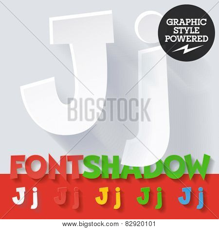 Modern funny flat alphabet with long ambient shadow. Optional colors. Letter J