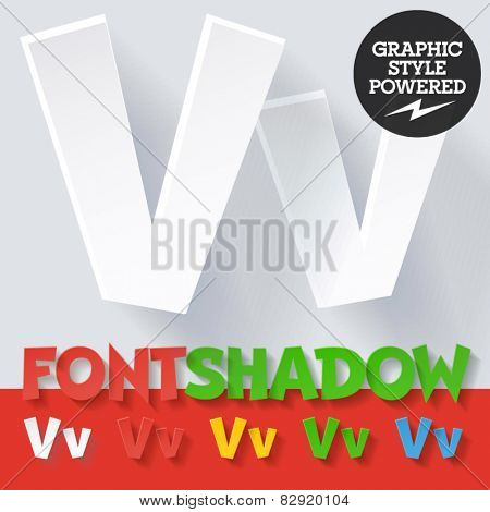 Modern funny flat alphabet with long ambient shadow. Optional colors. Letter V