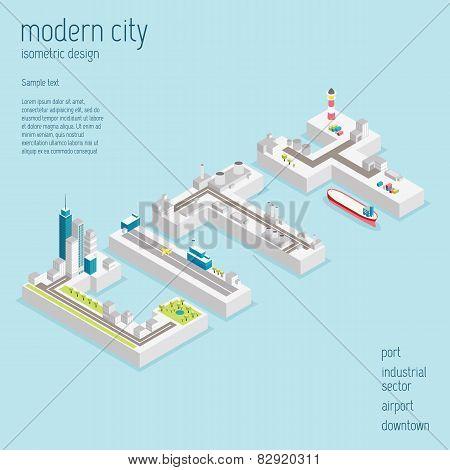 Isometric modern city vector illustration