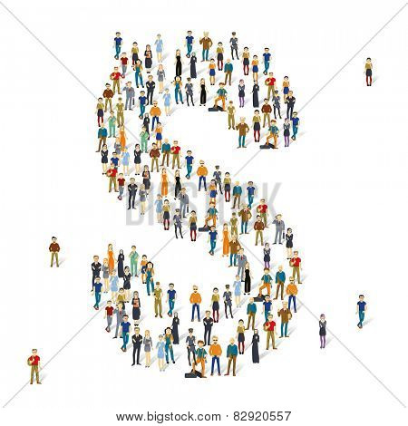 People crowd. Vector ABC, letter S