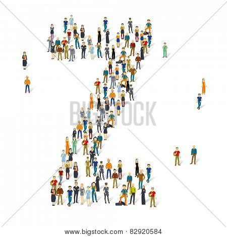 People crowd. Vector ABC, letter Z