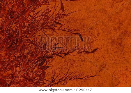 Textured brown backdrop with bamboos foliage - scrapbooking