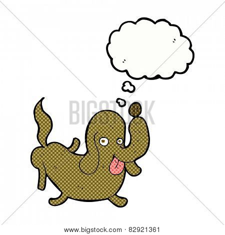 cartoon dog sticking out tongue with thought bubble