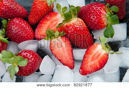 Fresh Delicious Red Strawberries On Ice.