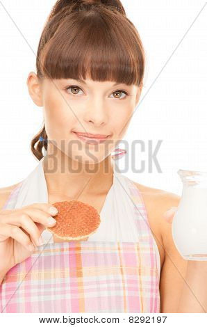Housewife With Milk And Cookies