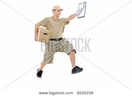 Postman in a hurry delivering package