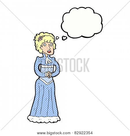 cartoon shocked victorian woman with thought bubble