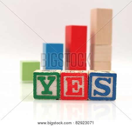 Wooden Blocks Spelling Word Yes