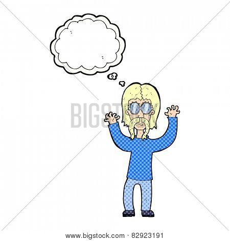 cartoon hippie man waving arms with thought bubble