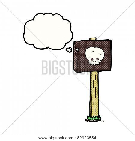 cartoon halloween sign post with thought bubble