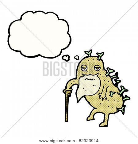 cartoon old potato with thought bubble