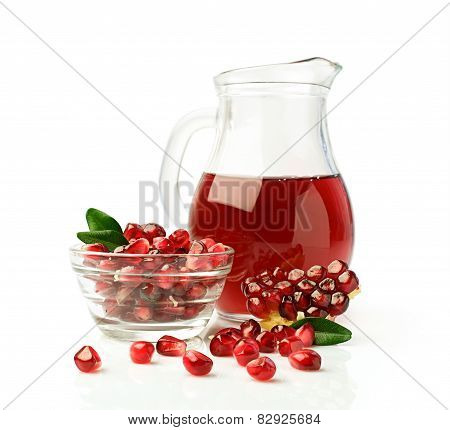 Pomegranate Juice In A Glass Jug And Fresh Fruit